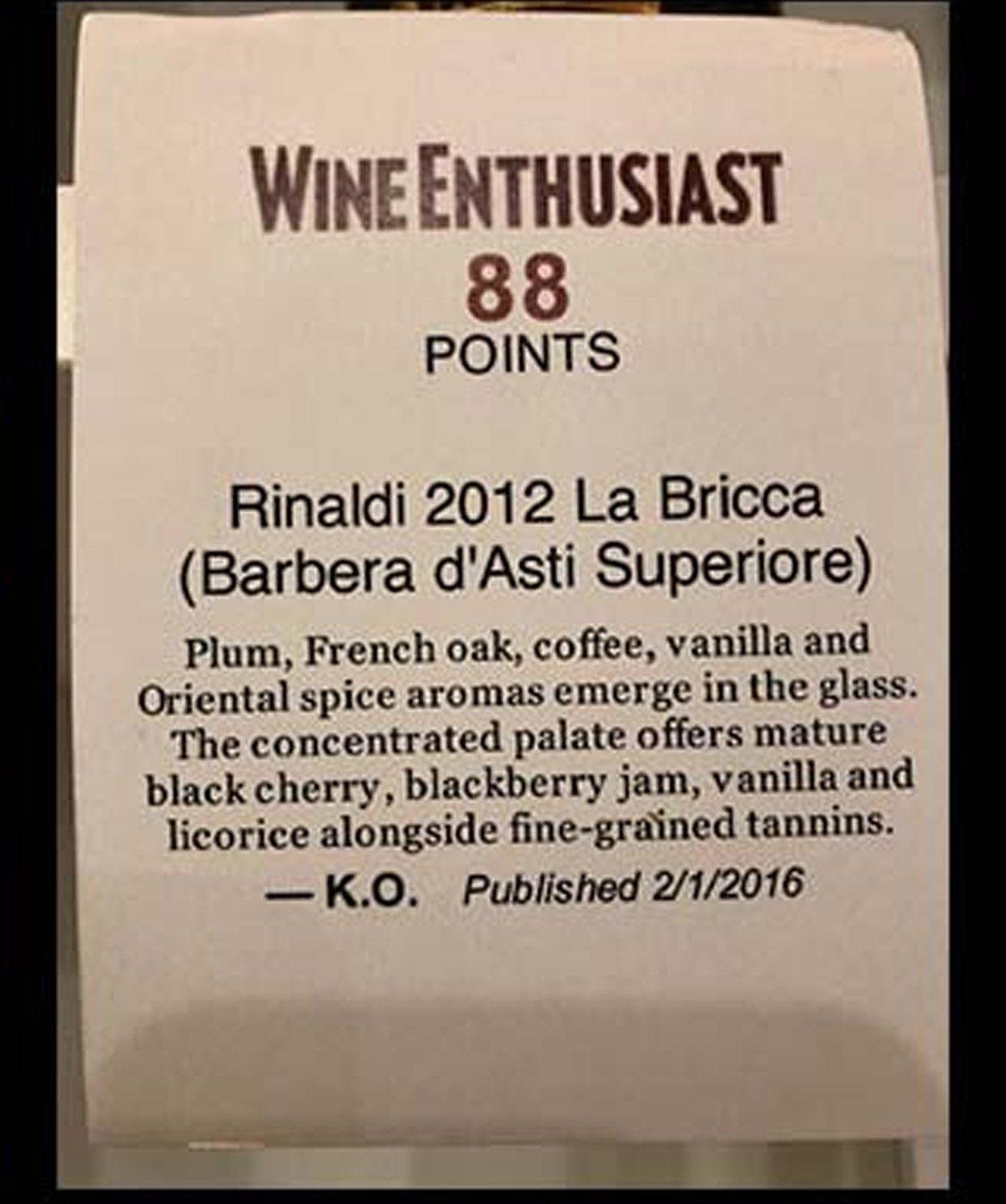 rinaldi 2012 barbera asti superiore la bricca premio wine enthusiast